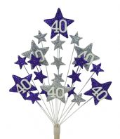 Star age 40th birthday cake topper decoration in purple and silver - free postage